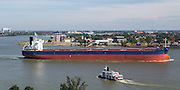 Atlantic Prime freighter, callsign V7XF7; Aerial view of Algiers Point along the Mississippi Riverfront