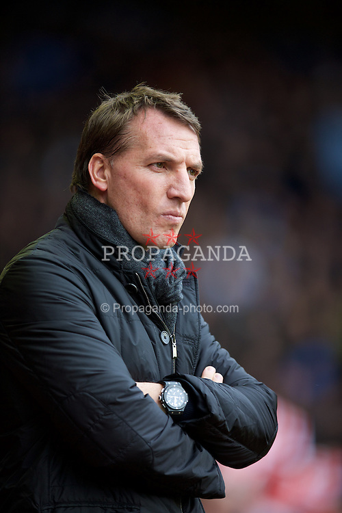 LIVERPOOL, ENGLAND - Sunday, March 1, 2015: Liverpool's manager Brendan Rodgers before the Premier League match against Manchester City at Anfield. (Pic by David Rawcliffe/Propaganda)