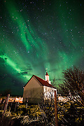 Aurora Borealis or northern Lights during winter at southern Iceland