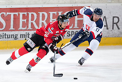 12.02.2016, Olympiaworld, Innsbruck, AUT, Euro Ice Hockey Challenge, Österreich vs Slowakei, im Bild Fabio Hofer (AUT) und Manuel Ganahl (AUT) // Fabio Hofer of Austria and Branislav Kubka of Slovakia during the Euro Icehockey Challenge Match between Austria and Slovakia at the Olympiaworld in Innsbruck, Austria on 2016/02/12. EXPA Pictures © 2016, PhotoCredit: EXPA/ Jakob Gruber