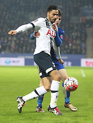 Nacer Chadli of Tottenham Hotspur (L) and Ben Chilwell of Leicester City in action - Mandatory byline: Jack Phillips/JMP - 20/01/2016 - FOOTBALL - King Power Stadium - Leicester, England - Leicester City v Tottenham Hotspur - {event}