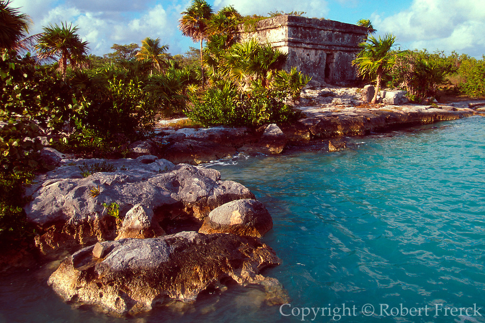 MEXICO, RIVIERA MAYA Caleta Lagoon with Mayan Temple