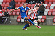 Luke Daly and Billy Waters during the FA Trophy match between Cheltenham Town and Chelmsford City at Whaddon Road, Cheltenham, England on 12 December 2015. Photo by Antony Thompson.