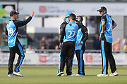 Worcestershire's Daryl Mitchell celebrating a wicket  during the Royal London 1 Day Cup match between Lancashire County Cricket Club and Worcestershire County Cricket Club at the Emirates, Old Trafford, Manchester, United Kingdom on 17 April 2019.