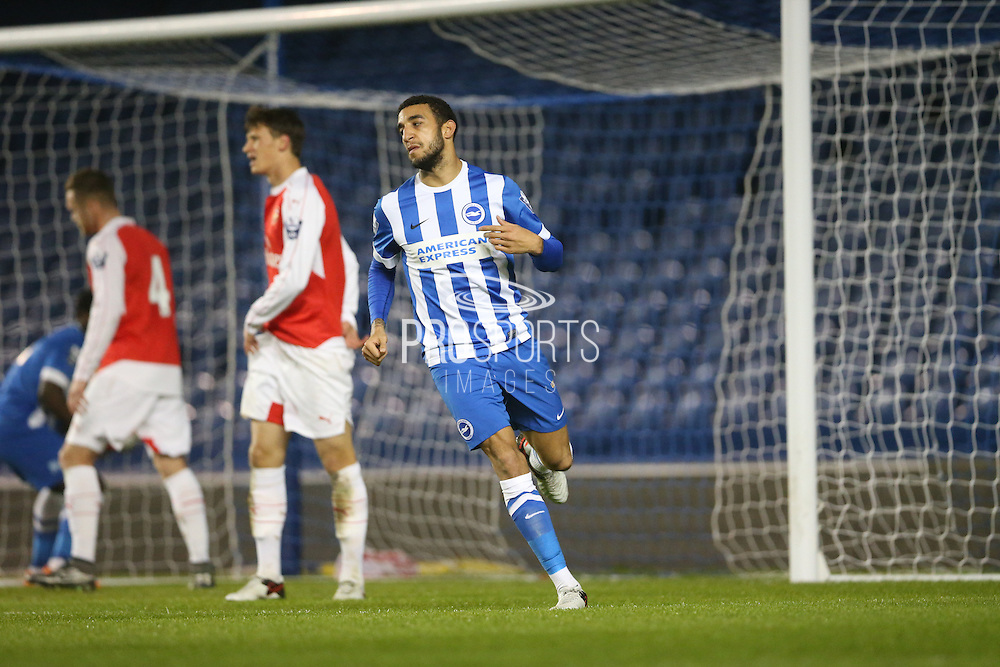 Brighton U21 defender Connor Goldson celebrates his goal during the Barclays U21 Premier League match between Brighton U21 and Arsenal U21 at the American Express Community Stadium, Brighton and Hove, England on 1 December 2015.