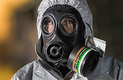 FILE PICTURE © Licensed to London News Pictures. 07/03/2018. Salisbury, UK. Police in protective suits and gas masks appear to be rehearsing search and evidence gathering techniques - possibly for a new search in Salisbury. Former Russian spy Sergei Skripal and his daughter were taken ill following a suspected poisoning in the city. The couple where found unconscious on bench in Salisbury shopping centre. Authorities now suspect a chemical nerve agent was used. Photo credit: Peter Macdiarmid/LNP