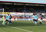 30th September 2017, Dens Park, Dundee, Scotland; Scottish Premier League football, Dundee versus Hearts; Dundee's Kerr Waddell heads home the first of his two goals in his side's 2-1 win over Hearts
