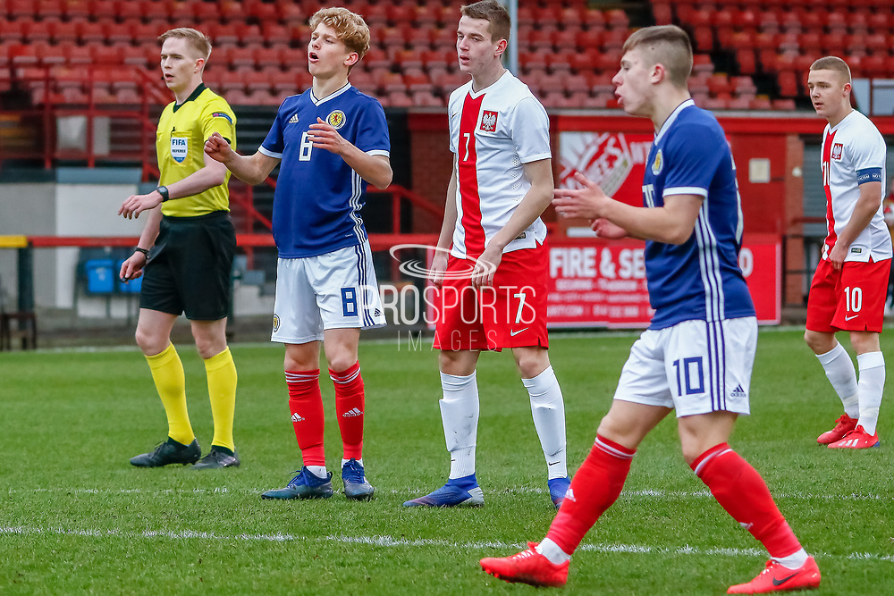 Michael Craig (Tottenham Hotspur) looks on as his shot goes just wide of the post during the U17 European Championships match between Scotland and Poland at Firhill Stadium, Maryhill, Scotland on 26 March 2019.