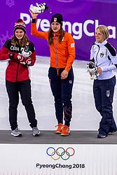 22-02-2018 KOR: Olympic Games day 13, PyeongChang<br /> Short Track Speedskating / Shorttrackster Suzanne Schulting heeft dankzij een magistrale finale de olympische titel veroverd op de 1.000 meter. Kim Boutin of Canada, Arianna Fontana of Italy