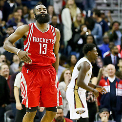 Jan 25, 2016; New Orleans, LA, USA; Houston Rockets guard James Harden (13) celebrates after a go ahead basket against the New Orleans Pelicans during the fourth quarter of a game at the Smoothie King Center. The Rockets defeated the Pelicans 112-111. Mandatory Credit: Derick E. Hingle-USA TODAY Sports
