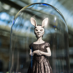 White Rabbit Figurine by Danny Van Ryswyk on display at the 3D Printshow at the Old Billingsgate in London. 3D Printshow brings together the biggest names in 3D printing technology alongside the most creative, exciting and innovative individuals using additive processes today.