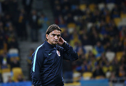 October 9, 2017 - Kiev, Ukraine - Head coach of the national team of Croatia Zlatko Dalic before the beginning the World Cup Group I qualifying soccer match between Ukraine and Croatia at the Olympic Stadium in Kiev. Ukraine, Monday, October 9, 2017  (Credit Image: © Danil Shamkin/NurPhoto via ZUMA Press)