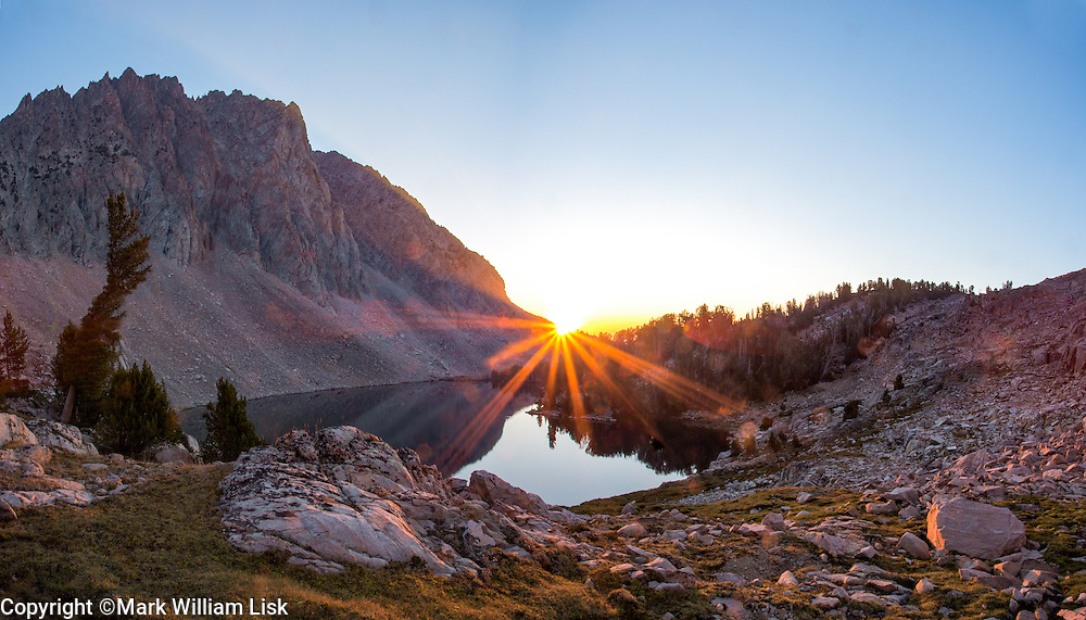 Sunrise over Sheep Lake in the Big Boulder drainage of the White Cloud Wilderness.