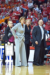 28 March 2010: Robin Pingeton and other members of the bench stair down the officials after calling a time out in response to what was considered an incorrect call. The Redbirds of Illinois State squeak past the Illini of Illinois 53-51 in the 4th round of the 2010 Women's National Invitational Tournament (WNIT) on Doug Collins Court inside Redbird Arena at Normal Illinois.