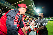 Nemani Nadolo of the BNZ Crusaders celebrates with teh fans during the Canterbury Crusaders v the Western Force Super Rugby Match. Nib Stadium, Perth, Western Australia, 8th April 2016. Copyright Image: Daniel Carson / www.photosport.nz
