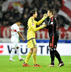 30.12.2015, Mercedes Benz Arena, Stuttgart, GER, 1. FBL, VfB Stuttgart vs Hamburger SV, 19. Runde, im Bild Aufmunterung vor dem Spiel Torwart Ren?? Adler HSV Hamburg Hamburger SV (links) und Pierre-Michel Lasogga HSV Hamburg Hamburger SV (rechts) // during the German Bundesliga 19th round match between VfB Stuttgart and Hamburger SV at the Mercedes Benz Arena in Stuttgart, Germany on 2015/12/30. EXPA Pictures © 2016, PhotoCredit: EXPA/ Eibner-Pressefoto/ Weber<br /> <br /> *****ATTENTION - OUT of GER*****