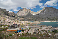 Backcountry camp in Indian Basin, Harrower Peak is in the distance, Bridger Wilderness,  Wind River Range Wyoming