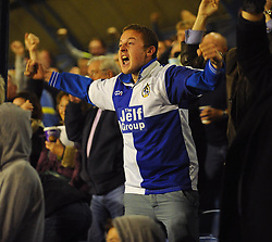 A Bristol Rovers fan celebrates his side taking the lead - Photo mandatory by-line: Seb Daly/JMP - Tel: Mobile: 07966 386802 27/09/2013 - SPORT - FOOTBALL - Roots Hall - Southend - Southend United V Bristol Rovers - Sky Bet League Two