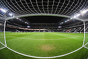 Stadium MK viewed from the goal during the EFL Trophy match between Milton Keynes Dons and Wycombe Wanderers at stadium:mk, Milton Keynes, England on 12 November 2019.