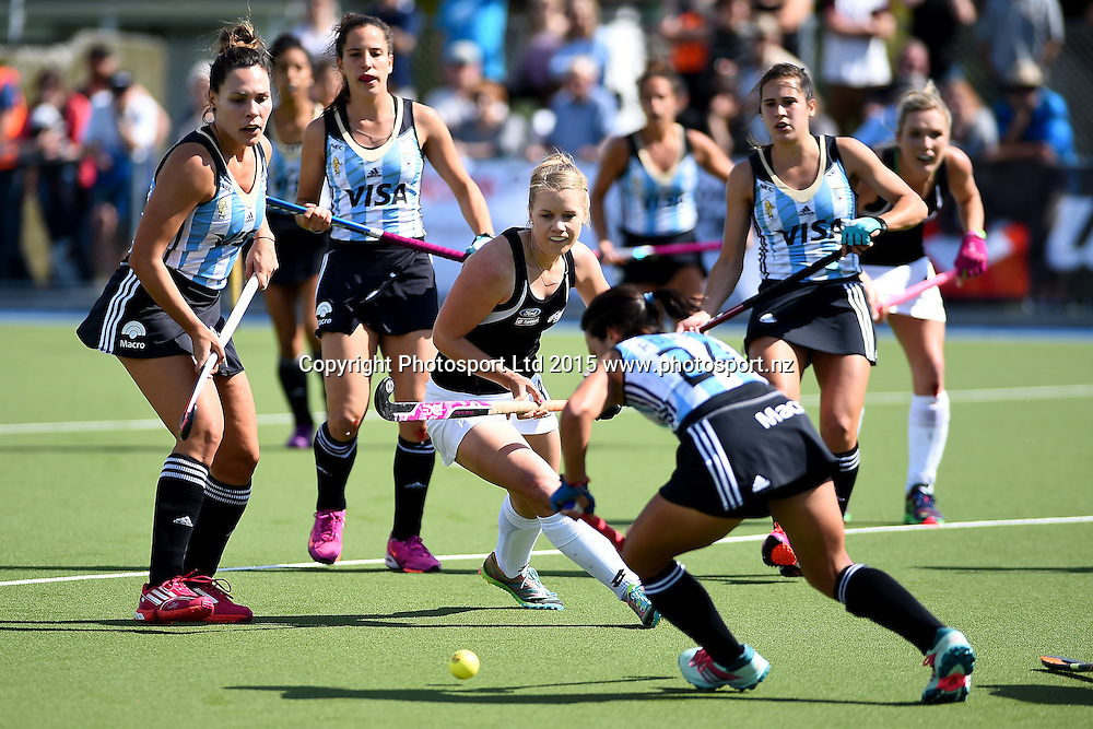Black Sticks player Kirsten Pearce during their 2015 South Island Tour game between the New Zealand Black Sticks Women v Argentina. College Park, Blenheim, New Zealand. Sunday 4 October 2015. Copyright Photo: Chris Symes / www.photosport.nz