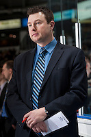 KELOWNA, CANADA -FEBRUARY 10: Matt O'Dette, assistant coach of the Seattle Thunderbirds stands on the bench against the Kelowna Rockets on February 10, 2014 at Prospera Place in Kelowna, British Columbia, Canada.   (Photo by Marissa Baecker/Getty Images)  *** Local Caption *** Matt O'Dette;
