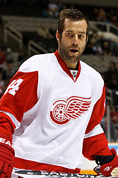 March 3, 2011; San Jose, CA, USA;  Detroit Red Wings right wing Todd Bertuzzi (44) warms up before the game against the San Jose Sharks at HP Pavilion.  San Jose defeated Detroit 3-1. Mandatory Credit: Jason O. Watson / US PRESSWIRE
