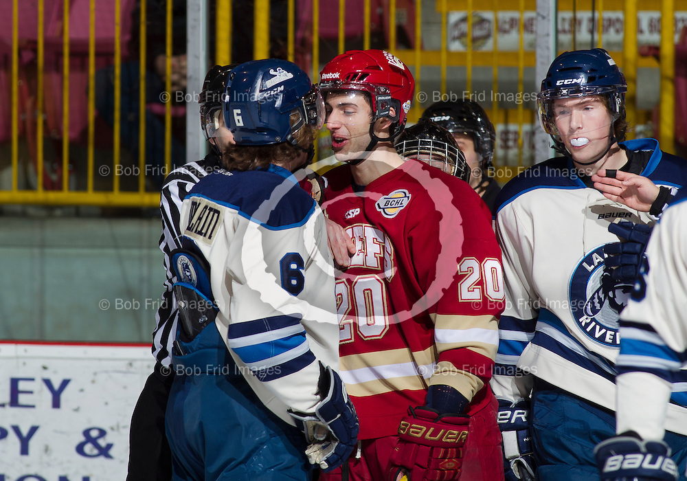 11 January 2014:  Mathieu Tibbet (20) of the Chiefs  during a game between the Chilliwack Chiefs and the Langley Rivermen at Prospera Centre, Chilliwack, BC.    ****(Photo by Bob Frid - All Rights Reserved 2013): mobile: 778-834-2455 : email: bob.frid@shaw.ca ****