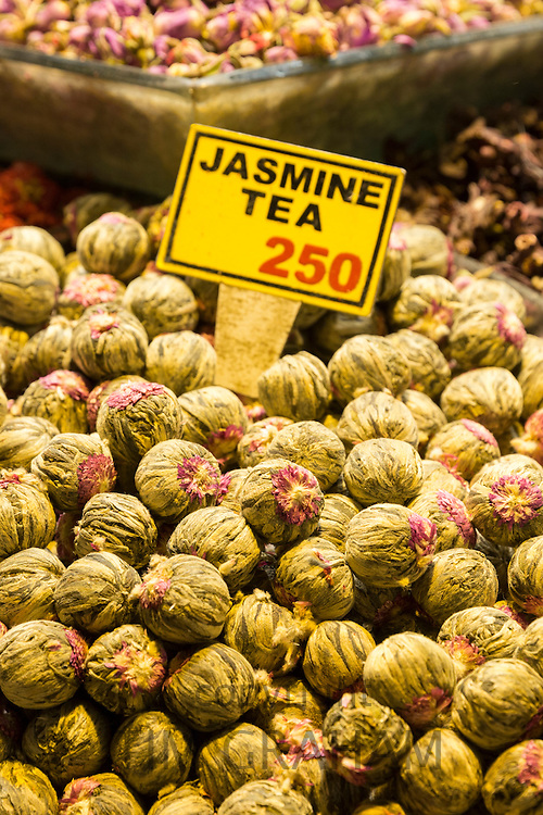 Fowers for Jasmine tea and Turkish lira prices in Misir Carsisi Egyptian Bazaar food market, Istanbul, Turkey