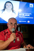 Waldemar Ostapski trainer coach of women's national team of Poland during press conference before weightlifting IWF World Championships Wroclaw 2013 at Stary Dom in Warsaw on September 16, 2013.<br /> <br /> Poland, Warsaw, September 16, 2013<br /> <br /> Picture also available in RAW (NEF) or TIFF format on special request.<br /> <br /> For editorial use only. Any commercial or promotional use requires permission.<br /> <br /> Photo by &copy; Adam Nurkiewicz / Mediasport
