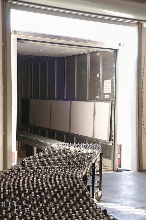 Empty conveyor belt in distribution warehouse