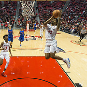 27 February 2018: San Diego State men's basketball hosts Boise State in their last meet up of the regular season at Viejas Arena. San Diego State Aztecs guard Jeremy Hemsley (42) goes up for a lay up on a fast break in the second half. The Aztecs beat the Broncos 72-64.  <br /> More game action at sdsuaztecphotos.com