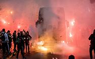 FODBOLD: Brøndbys spillerbus ankommer til kampen i ALKA Superligaen mellem FC Helsingør og Brøndby IF den 22. oktober 2017 på Helsingør Stadion. Foto: Claus Birch