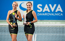 Tadeja Dolinsek and Spela Kosi posing with Trophies during Day 9 of ATP Challenger Zavarovalnica Sava Slovenia Open 2018, on August 11, 2018 in Sports centre, Portoroz/Portorose, Slovenia. Photo by Vid Ponikvar / Sportida