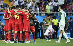 July 2, 2018 - Rostov, RUSSIA - Belgium's Nacer Chadli celebrates the 3-2 goal of the victory with players and  Belgium's goalkeeper Thibaut Courtois at a round of 16 game between Belgian national soccer team the Red Devils and Japan in Rostov, Russia, Monday 02 July 2018. ..BELGA PHOTO LAURIE DIEFFEMBACQ (Credit Image: © Laurie Dieffembacq/Belga via ZUMA Press)