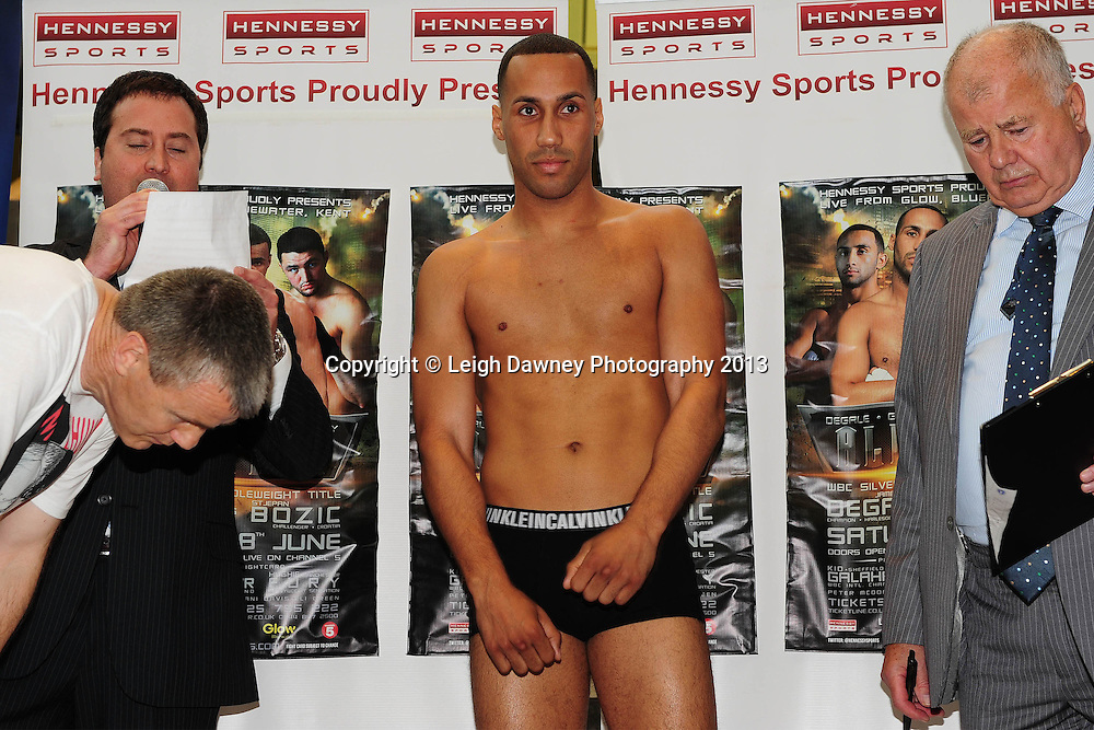 James DeGale MBE & Stjepan Bozic at the official Weigh In at Glow, Bluewater, Dartford, Kent on 7th June 2013. Promoter: Hennessy Sports. Mandatory Credit: © Leigh Dawney