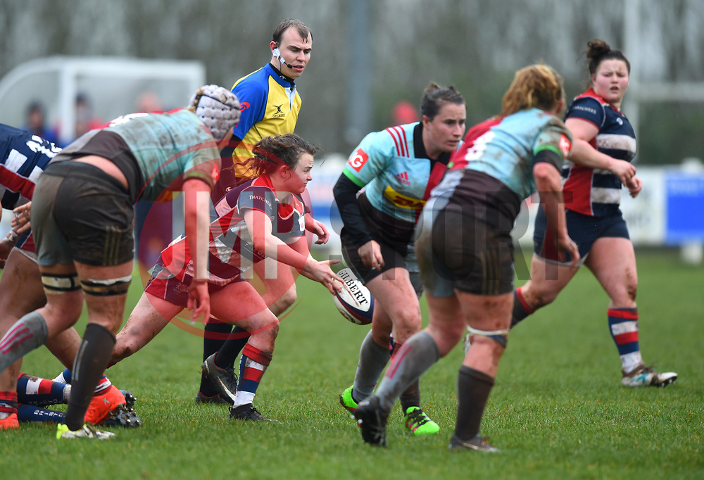 Cat McNaney of Bristol Ladies passes the ball - Mandatory by-line: Paul Knight/JMP - 03/02/2018 - RUGBY - Cleve RFC - Bristol, England - Bristol Ladies v Harlequins Ladies - Tyrrells Premier 15s