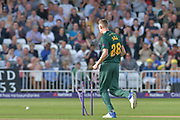 Jake Ball bowles Lewis Gregory (not shown) during the NatWest T20 Blast Quarter Final match between Notts Outlaws and Somerset County Cricket Club at Trent Bridge, West Bridgford, United Kingdom on 24 August 2017. Photo by Simon Trafford.