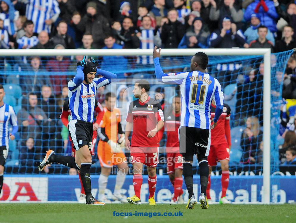 Picture by Richard Land/Focus Images Ltd +44 7713 507003.08/12/2012.Miguel Llera of Sheffield Wednesday celebrates his opening goal during the npower Championship match at Hillsborough, Sheffield.