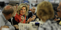 GREENVILLE, SC:  During a breakfast event, Ann Romney, former first lady of Massachusetts and devoted wife of republican candidate for president, Mitt Romney, discuss political issues facing America with supporters and volunteers at Tommy's Country Ham House in Greenville, South Carolina, Thursday, September 29, 2011. (Photo by Melina Mara/The Washington Post) . ...