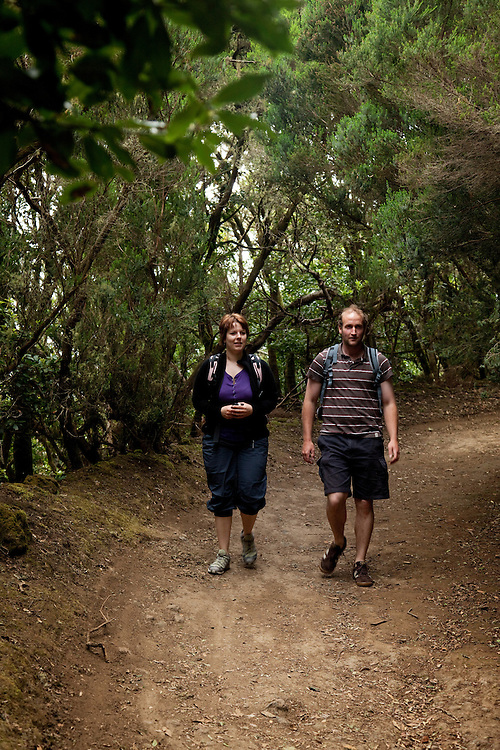 Young couple walking in ANAGA MOUNTAINS, North Eastern Tenerife.