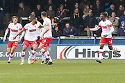 GOAL - Freddie Ladapo (10) is congratulated on scoring during the EFL Sky Bet League 1 match between Peterborough United and Rotherham United at London Road, Peterborough, England on 25 January 2020.