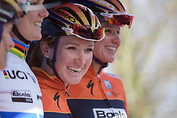 Amy Pieters signs in with her Boels Dolmans teammates at Drentse 8 2017. A 143 km road race on March 12th 2017, starting and finishing in Dwingeloo, Netherlands. (Photo by Sean Robinson/Velofocus)
