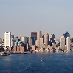 Aerial AM view of Boston skyline and harbor.