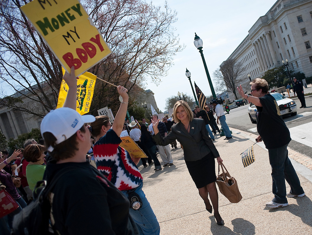 Mar 21,2010 - Washington, District of Columbia USA - .Washington, D.C..U.S Congresswoman Marsha Blackburn R- Tennesee, walks past Tea Party members as she makes her way to the U.S. Capitol before a historic vote on Health Care. Demonstrators on both sides of the Healh Care issue protest outside of the Capitol on Sunday in advance of a vote by the U.S. House.(Credit Image: © Pete Marovich/ZUMA Press)