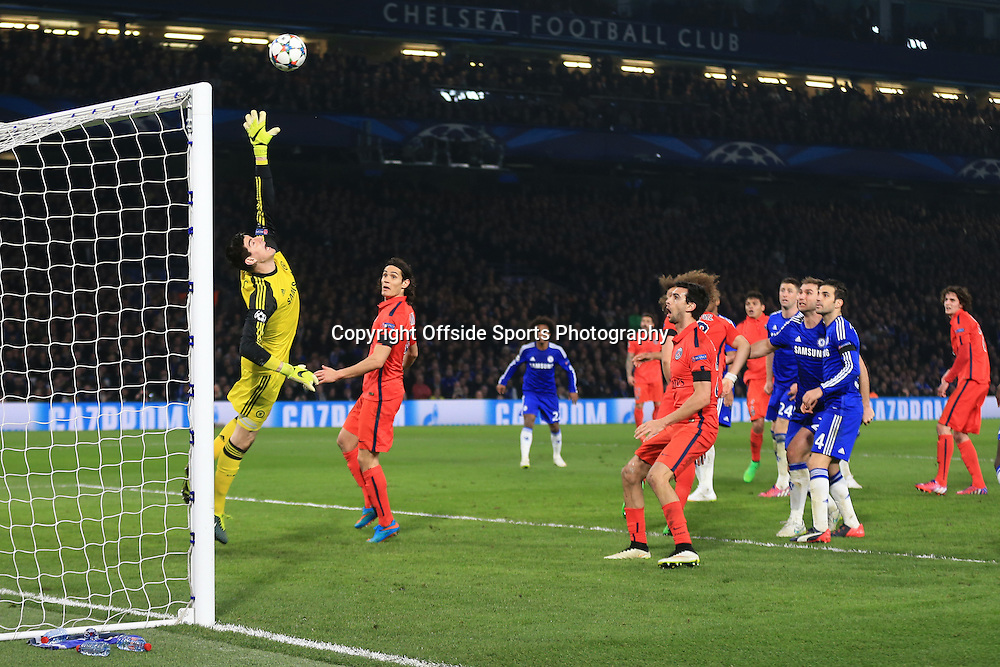 11 March 2015 - UEFA Champions League - Round of 16 (2nd Leg) - Chelsea v Paris Saint-Germain - A header from Thiago Silva of Paris St Germain loops over Thibaut Courtois of Chelsea to make it 2-2- Photo: Marc Atkins / Offside.