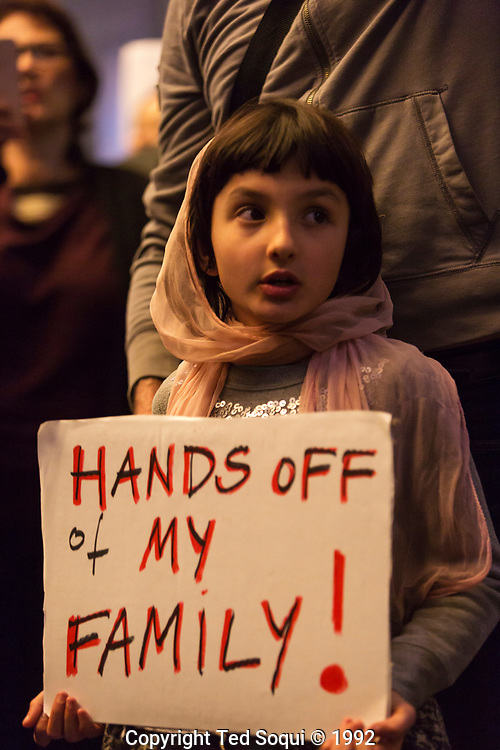 Hundreds of people protested at LAX against the Muslim Travel Ban signed in to law by President Trump. The law was temporairly overtunred by a Federal judge early evening on Sat Jan 29, 2017.