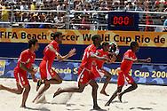 Footbal-FIFA Beach Soccer World Cup 2006 -BHR x NGA - Bahrain players celebrates the vacant- Rio de Janeiro, Brazil - 01/11/2006.<br />Mandatory Credit: FIFA/Ricardo Ayres