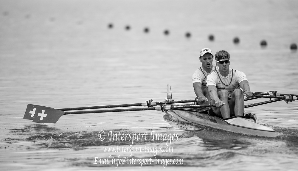 "Glasgow, Scotland, ""2nd August 2018"", Swiss men's Double Scull, SUI M2X, ""Left Nico STAHLBERG"", and ""Right Barnabe DELARZE"", European Games, Rowing, Strathclyde Park, North Lanarkshire, © Peter SPURRIER/Alamy Live News"