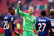 04-10-2015 VOETBAL: AJAX-PSV:AMSTERDAM<br /> Jeroen Zoet van PSV viert de overwinning<br /> Foto: Geert van Erven