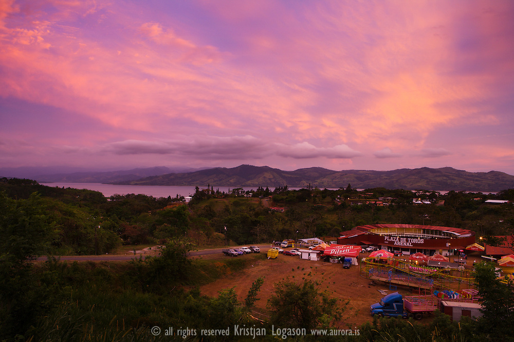 Plaza del Toros in Arenal, Costa Rica and view over Lake Arenal at sunset<br /> <br /> For more travel photography from Costa Rica visit www.aurora.is<br /> For Travel stories visit www.benzi.is